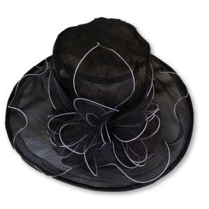 Black dress hat with white trim